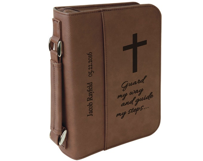 Custom Leatherette Book/Bible Cover, Your Choice of Image/Words, Laser Engraved Book/Bible Cover, Personalized Book/Bible Cover, Two Sizes