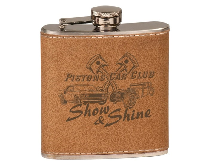 Custom Leather Flask, Personalize It, Your Choice of Image/Words, Personalized Flask, Laser Engraved Flask, Groomsmens Gifts, Mens Gifts
