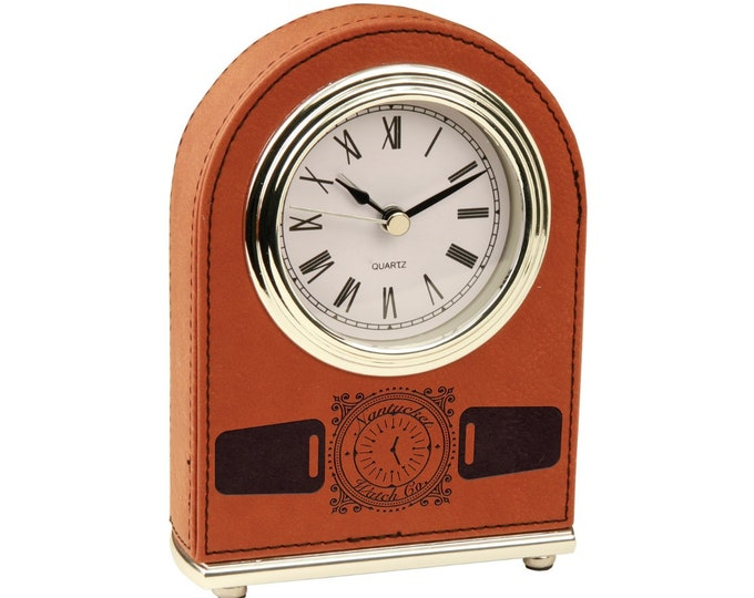 Personalized Leatherette Desk Clock, Your Choice of Image/Words, Rawhide, Custom Clock, Engraved Clock, Corporate Gifts, Award Gifts