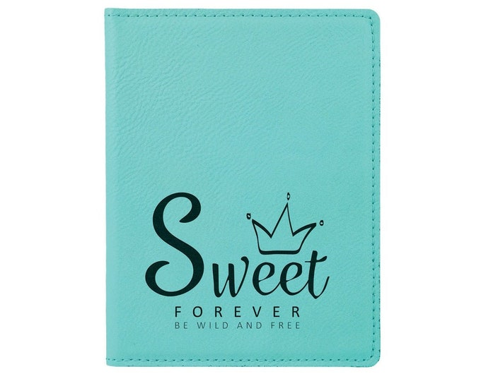 Personalized Passport Holder, Your Choice of Image/Words, Teal with Black, Laser Engraved, Custom Passport Holder, Corporate Passport Holder