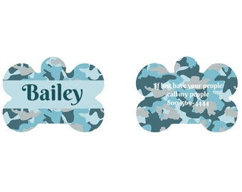 Personalized Blue Camo Pet Tag, Your Choice of Words, Double Sided Pet Tag, Custom Pet Tag, Personalized Dog Tag, Custom Dog Tag, Pet ID Tag