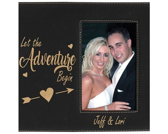 Personalized Leatherette Photo Frame, Black with Gold, Custom Photo Frame, Laser Engraved Photo Frame, Corporate Gifts, Personalized Gifts