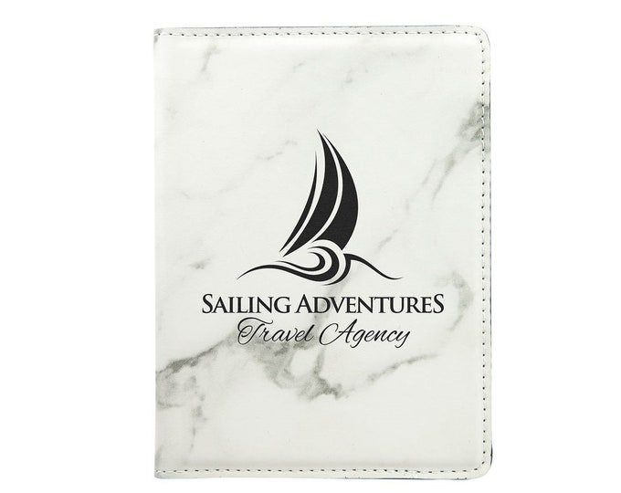 Personalized Passport Holder, Your Choice of Image/Words, White Marble with Black, Laser Engraved, Custom Passport Holder,Corporate Passport