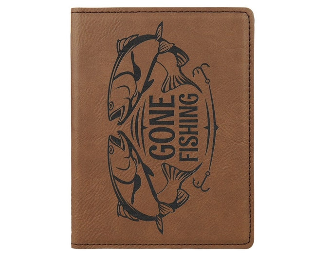 Personalized Passport Holder, Your Choice of Image/Words, Brown with Black, Laser Engraved, Custom Passport Holder,Corporate Passport Holder