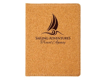 Personalized Passport Holder, Your Choice of Image/Words, Cork with Black, Laser Engraved, Custom Passport Holder, Corporate Passport Holder