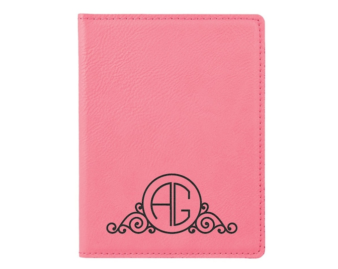 Personalized Passport Holder, Your Choice of Image/Words, Pink with Black, Laser Engraved, Custom Passport Holder, Corporate Passport Holder