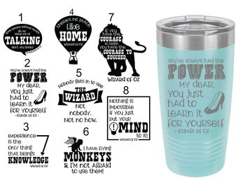 Wizard of Oz Themed Laser Engraved Travel Mugs, Can be Personalized, 8 Different Sayings, 20 oz. Polar Camel, Personalized Travel Mug