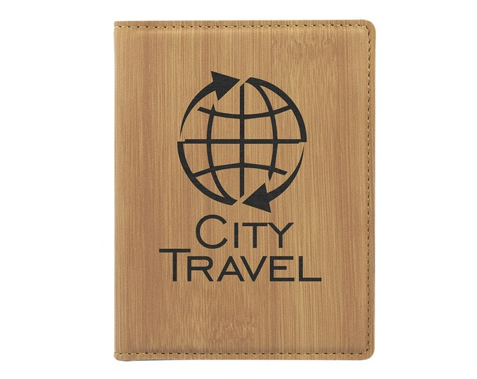 Personalized Passport Holder, Your Choice of Image/Words, Bamboo Leatherette,Laser Engraved,Custom Passport Holder,Corporate Passport Holder