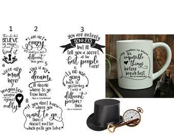 Alice in Wonderland Quotes Mug - 15 oz. Ceramic Mug, Personalized, Design your Own, Alice in Wonderland Gifts, Alice in Wonderland Sayings