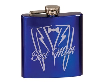 Personalized Gloss Blue Flask, Your Choice of Image/Words, Custom Flask, Laser Engraved Flask,Personalized Gifts,Groomsmens Gifts,Mens Gifts