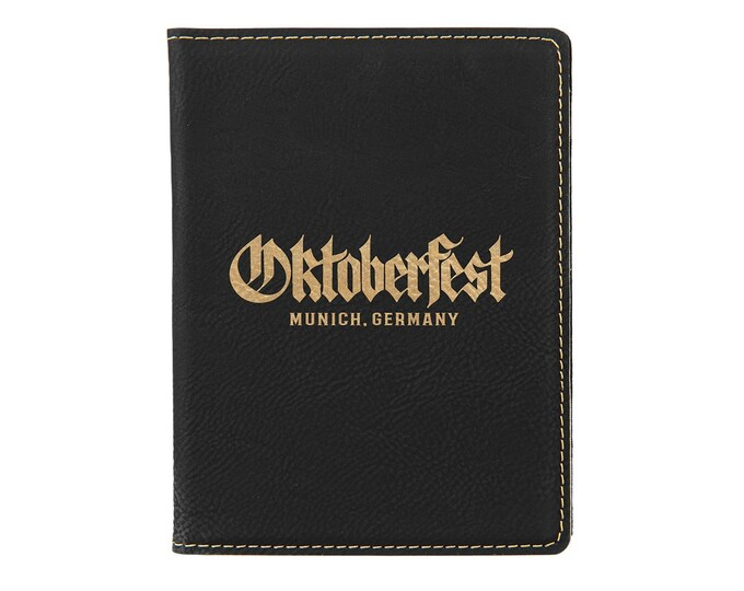 Personalized Passport Holder, Your Choice of Image/Words, Black with Gold, Laser Engraved, Custom Passport Holder, Corporate Passport Holder