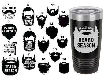 Beard Themed Laser Engraved Travel Mugs, Can be Personalized, 20 oz. Polar Camel, Insulated, Stainless Steel, Personalized Travel Mug
