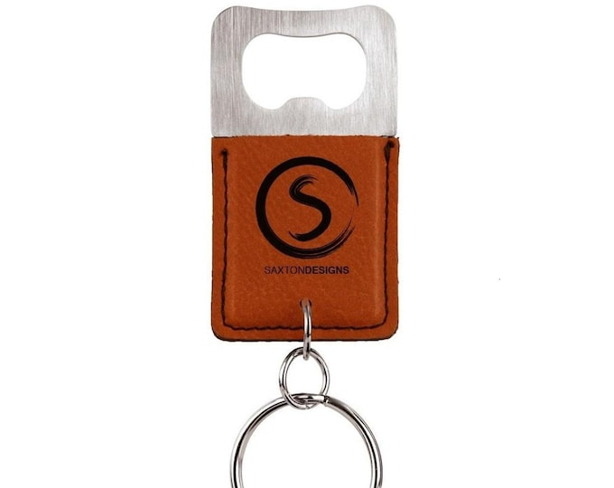 Personalized Leatherette Bottle Opener Keychain, Your Choice of Image/Words, Laser Engraved, Corporate Gifts, Groomsmens Gifts, Custom Gifts
