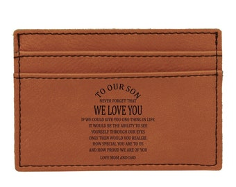 To Our Son Personalized Wallet Clip or Your Choice or Words, Custom Wallet, Laser Engraved Wallet, Son Gifts, Corporate Gift, Groomsmen Gift