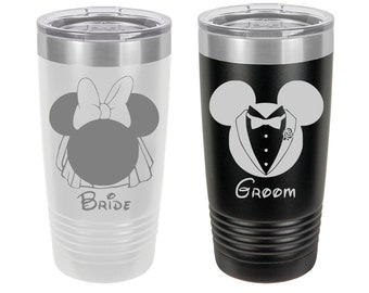 Mickey and Minnie Mouse Bride and Groom Travel Mug Set, Personalized, Engraved, Set of 2, Disney Themed Wedding, Disney Bride, Disney Groom