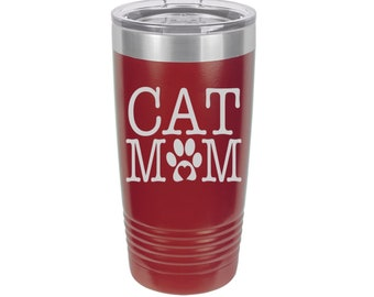 Cat Mom Laser Engraved Travel Mug, Can be Personalized, 20 oz. Polar Camel, Insulated, Stainless Steel, Cat Lover Gifts, Cat Mug