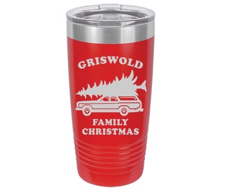 Griswold Family Christmas Laser Engraved Travel Mug, Can be Personalized with your Name, Custom Text on Back,  20 oz. Polar Camel Insulated