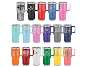 Personalized Handled Travel Mug w/ Slider Lid, Your Choice of Image/Words, Laser Engraved, 20 oz. Polar Camel Insulated Stainless Steel