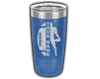 Football Laser Engraved Travel Mugs, Personalized with Players Name, Insulated, Yeti Style, Stainless Steel,Football Theme Cup, Football Mug