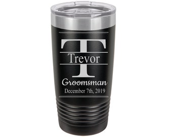 Groomsman Middle Split Initial Personalized Travel Mugs, Laser Engraved, Insulated, Yeti Style, Stainless Steel, Groomsman Gifts, Best Man