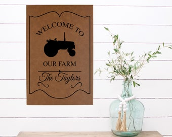 "Personalized Wall Art, Welcome to our Farm/Tractor, 12"" x 18"" Farmhouse Wall Art, Personalized Wall Decor, Farm Decor Gifts, Custom Farm Art"