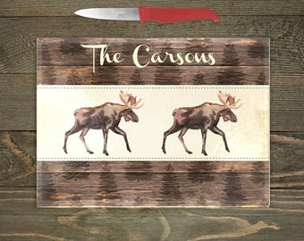 Personalized Glass Cutting Board, Your Choice of Words, Rustic Distressed Wood Look Background with Woodland Moose, Custom Cutting Board
