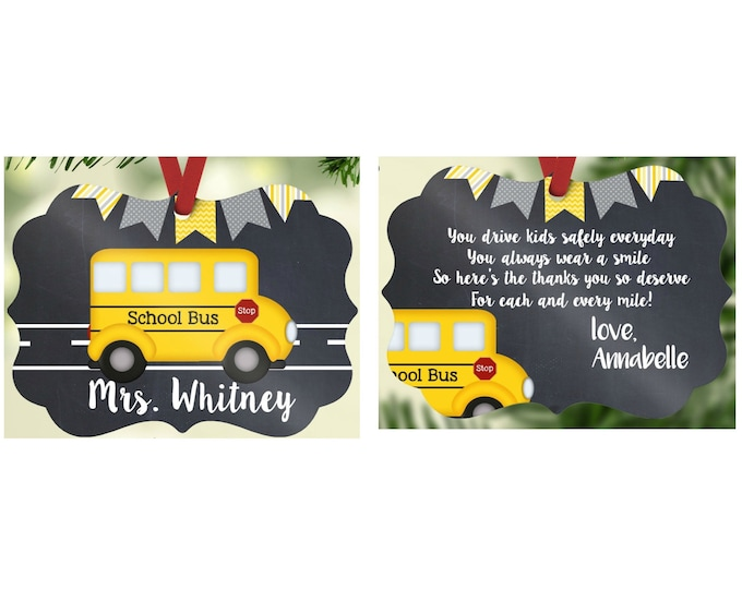 Personalized School Bus Driver Ornament, Custom School Bus Driver Ornament, Double Sided, Your Choice of Words, School Bus Driver Gifts