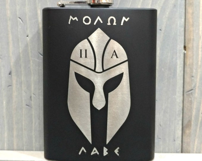 Molon Labe Spartan Flask | Personalize It with Your Choice of Image/Words, Men's Gifts, Groomsmens Gifts, Drinking Gifts, Fathers Gifts