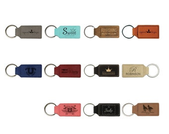 Personalized Leatherette Keychain,Your Choice of Image/Words, Laser Engraved Keychain, Custom Keychain, Groomsmen Gifts, Corporate Gifts
