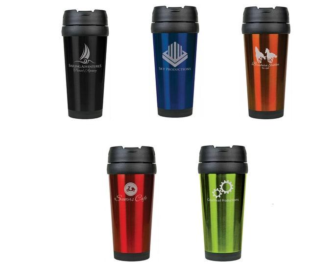 Personalized Travel Mug, Your Choice of Image/Words, 14 oz. Insulated, Stainless Steel, Laser Engraved Travel Mug, Custom Travel Mug