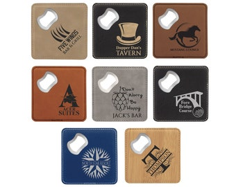 Personalized Leatherette Bottle Opener Coaster Set, Your Choice of Image/Words, Set of 6, Laser Engraved, Custom Coaster Set
