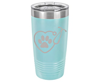 Stethoscope Pawprint Heart Laser Engraved Travel Mug, Can be Personalized, 20 oz. Polar Camel Insulated Stainless Steel, Veterinarian Gift
