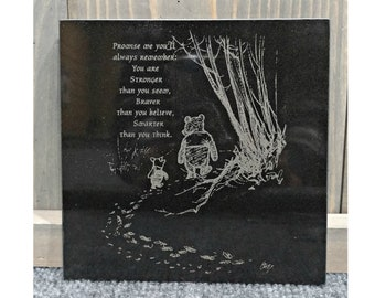 Engraved Black Granite Tile, You are Smarter than you Think Winnie the Pooh Saying or Personalize it -Your Choice of Image/Words