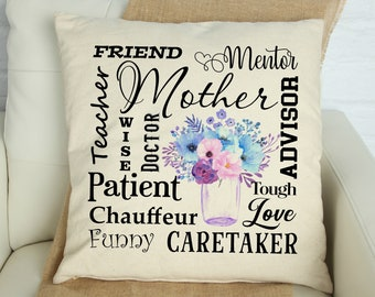 Mother Subway Art Pillow Cover, Mother Sayings Pillow Cover, Gifts for Mother, Gifts for Mom, Mother Phrases Pillow Covers