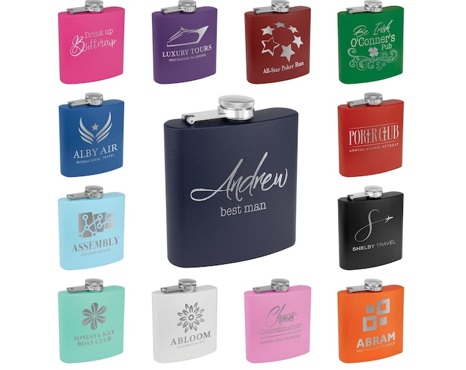 Personalized Flask, Your Choice of Image/Words, Custom Flask, Laser Engraved Flask, Personalized Gifts, Groomsmens Gifts, Mens Gifts