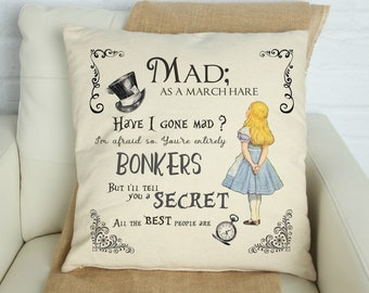 Personalized Alice Adventures Pillow Cover, Alice in Wonderland Mad as a March Hare Pillow Cover, Vintage Alice in Wonderland Room Decor