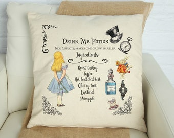 Alice Adventures Pillow Cover, Alice in Wonderland Drink Me Potion Pillow Cover, Can be Personalized, Alice in Wonderland Room Decor