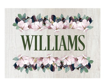 Personalized Glass Cutting Board, Your Choice of Words, White Distressed Wood with Floral Border, Mint Green & Violet, Custom Cutting Board