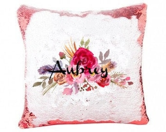 Personalized Sequin Pillow Cover, Your Choice of Photo/Image/Words, Custom Sequin Pillow Cover, Full Color Customization,Personalized Pillow