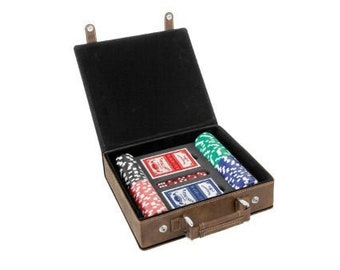 Personalized Poker Set - Your Choice of Words, Rustic with Gold Engraving Leatherette 100 Chip Set, Custom Poker Gifts,  Poker Player Gifts