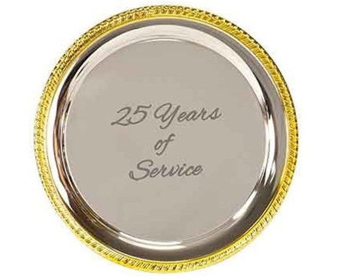 Personalized Gold Rim Silver-Plated Serving Tray, Custom Serving Tray, Engraved Serving Tray,Corporate Gifts,Anniversary Gifts,Wedding Gifts