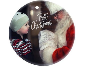 Personalized Photo Ornament, Ceramic, Your Choice of Photo/Image/Words, Design your own Full Color Ornament, Custom Ornament, Double Sided