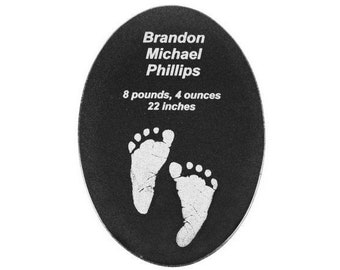 Personalized Granite Oval Plaque, Your Choice of Image/Words, Custom Oval Tile, Custom Plaque, Laser Engraved Granite Plaque, Engraved Tile