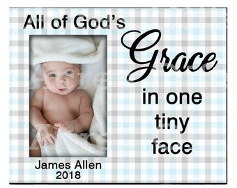 Baby Boy Personalized Photo Frame, Baby Boy Custom Photo Frame, All of God's Grace in one tiny face, Blue Houndstooth