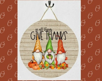 In All Things Give Thanks Gnomes Sign with Jute Hanger, Gnomes Decor, Autumn Sign, Gnomes Outdoor Decor, Gnomes Hanging Sign