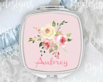 Silver Compact Mirror, Personalized, Bridesmaids Gifts, Custom Compact Mirror, Bridal Favors, Personalized Gifts for Women, Pocket Mirror
