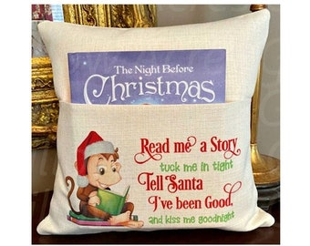 Personalized Book Pillow Cover, Reading Pillow Cover, Santa/Monkey Book Pillow Cover, Kids Pocket Pillow Cover, Reading Book Pillow Cover