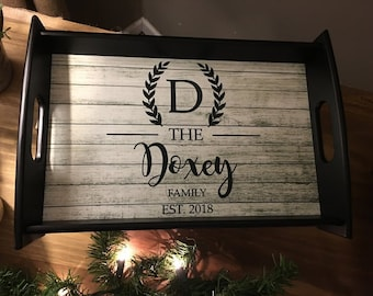 Personalized Serving Tray, Black, Custom Serving Tray, Rustic, Barnwood, Monogram, Corporate Gifts, Wedding Gifts, Housewarming Gifts
