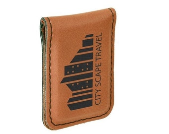Personalized Leatherette Money Clip, Rawhide Laser Engraved with Black, Personalized Gifts, Corporate Gifts, Groomsmens Gifts, Custom Gifts
