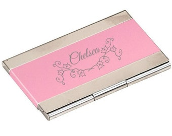 Pink Business Card Holder, Personalized - Your Choice of Image/Words, Laser Engraved, Custom Business Card Holder, Personalized Gifts